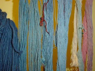 Wool and cotton dyed and overdyed with Indigo